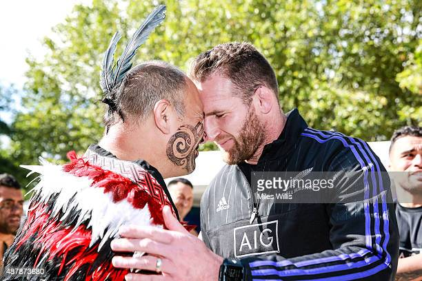 All Blacks player Kieran Read performs a hongi, the traditional Maori greeting at the Haka 360 Experience Launch Event at Oxo Tower Wharf South Wharf...
