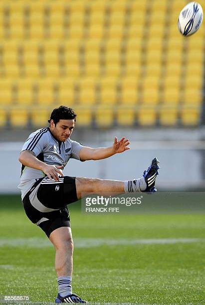 All Blacks player Piri Weepu kicks the ball during a training session at the Westpac Stadium in Wellington on June 19 2009 France on June 17 made...