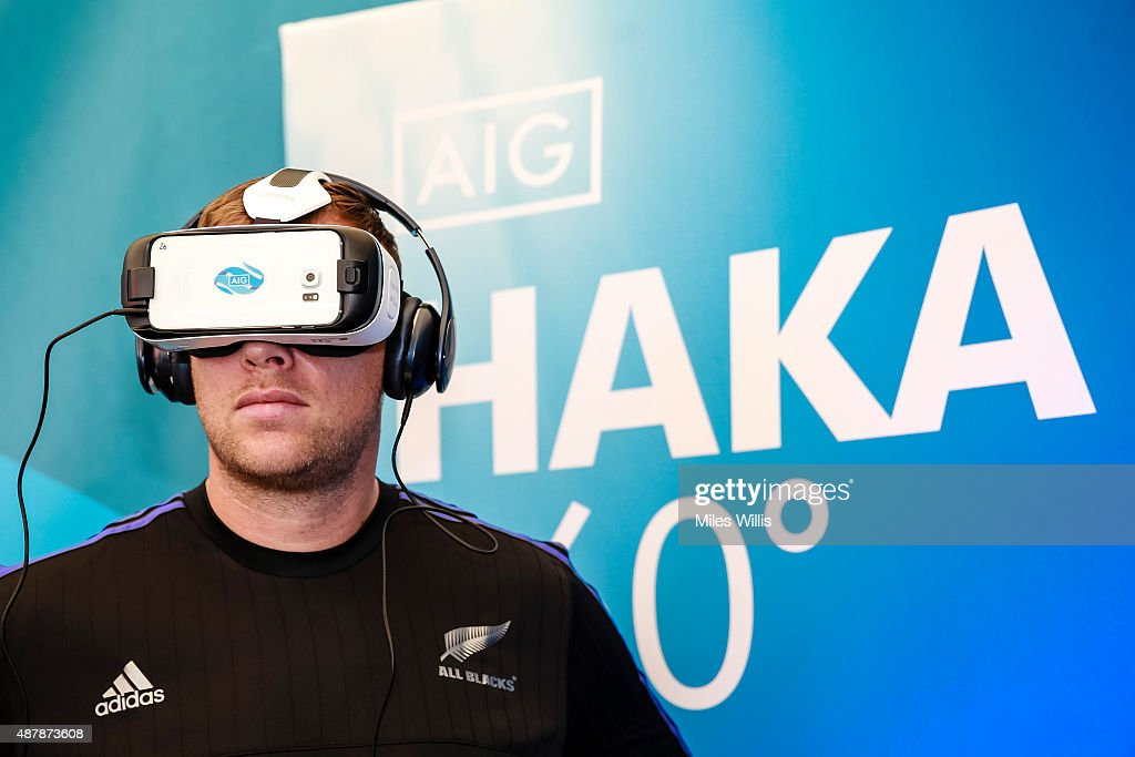 All Blacks player Wyatt Crockett tries the Haka 360 Experience at the Launch Event at Oxo Tower Wharf South Wharf on September 12, 2015 in London, England. The Haka 360 Experience is an app which uses 360 degree video technology to give the viewer the feeling of being on the field with the All Blacks and in the midst of the powerful Maori ritual. The app is available via aig.com/haka360, on the App Store and Google Play.