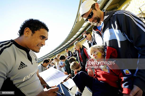 All Blacks playerJerome Kaino signs autographs after a training session at the Westpac Stadium in Wellington on June 19 2009 France on June 17 made...