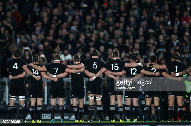 All Blacks players lineup during the national anthems during the International Test match between the New Zealand All Blacks and France at Eden Park...