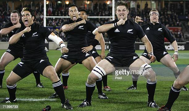 All Blacks players perform their new Haka prior to the start of the Tri Nations series Bledisloe Cup match between the New Zealand All Blacks and the...