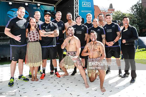 All Blacks players pose with Maori group Ngati Ranana during the Haka 360 Experience Launch Event at Oxo Tower Wharf South Wharf on September 12 2015...