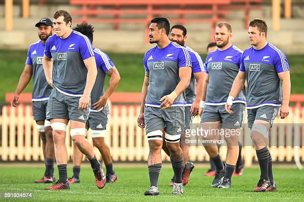 All Blacks players train during the New Zealand All Blacks Captain's Run at North Sydney Oval on August 19 2016 in Sydney Australia