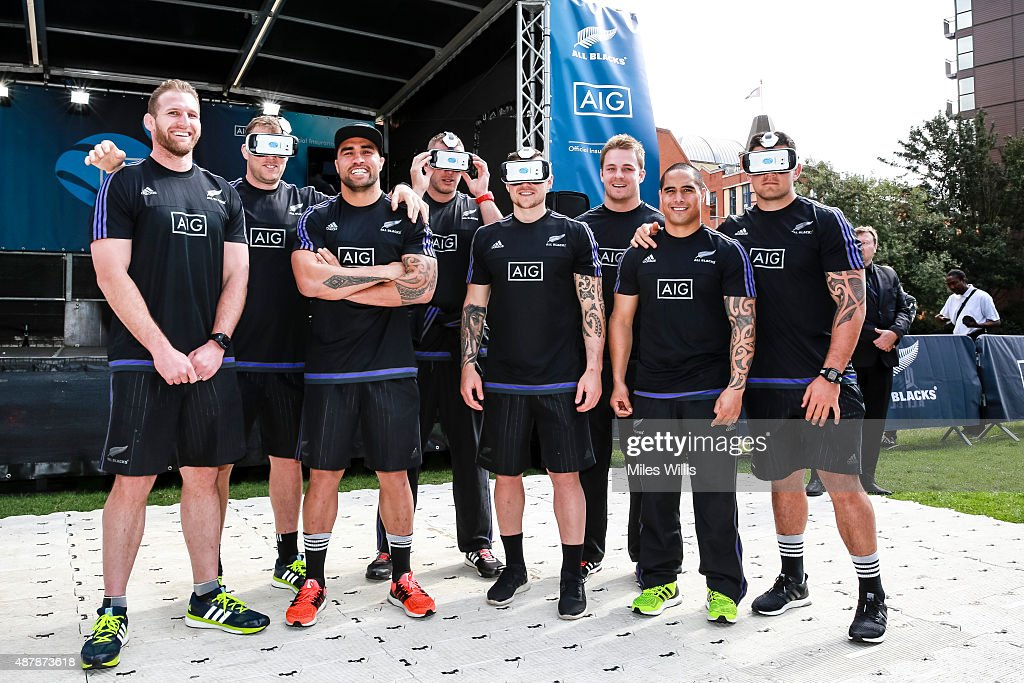 All Blacks pose with 360 headsets at the Haka 360 Experience Launch Event at Oxo Tower Wharf South Wharf on September 12, 2015 in London, England. The Haka 360 Experience is an app which uses 360 degree video technology to give the viewer the feeling of being on the field with the All Blacks and in the midst of the powerful Maori ritual. The app is available via aig.com/haka360, on the App Store and Google Play.
