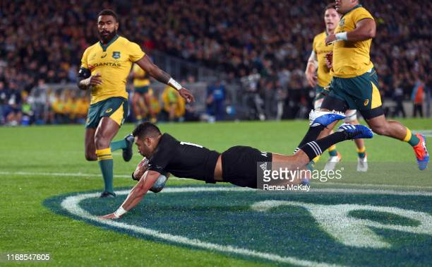All Blacks Richie Mo'unga scores a try during The Rugby Championship and Bledisloe Cup Test match between the New Zealand All Blacks and the...