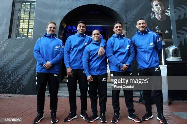 All Blacks Rieko Ioane Sam Cane SonnyBillWilliams Aaron Smith and Anton LienertBrown at the New Zealand All Blacks Rugby World Cup 2019 jersey launch...