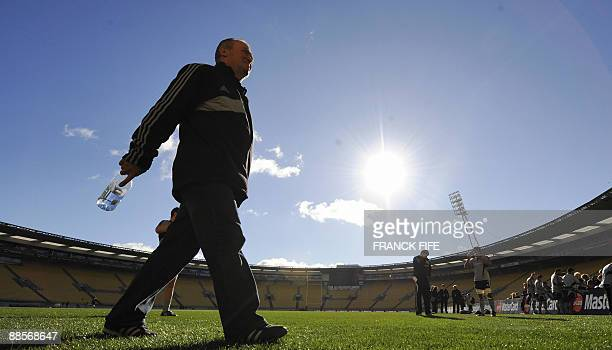 All Blacks rugby coach Graham Henry leaves the pictch after a training session at the Westpac Stadium in Wellington on June 19 2009 France on June 17...