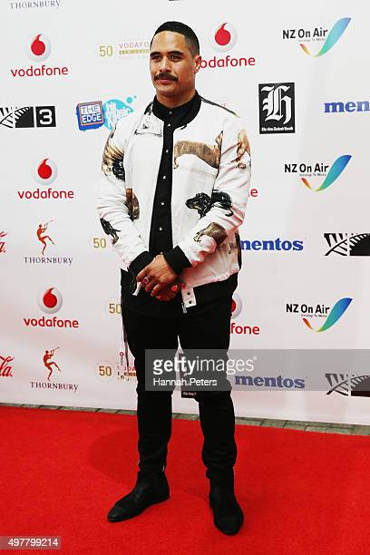 All Blacks rugby player Aaron Smith poses for a photo on the red carpet at the Vodafone New Zealand Music Awards at Vector Arena on November 19 2015...