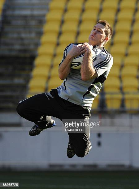 All Blacks rugby player Cory Jane jumps for the ball during a training session at the Westpac Stadium in Wellington on June 19 2009 France on June 17...
