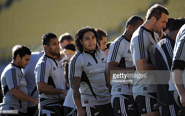 All Blacks rugby player Ma'a Nonu practices during a training session at the Westpac Stadium in Wellington on June 19 2009 France on June 17 made...