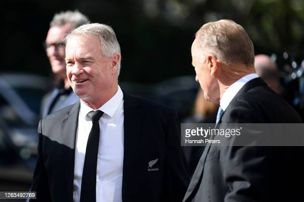 All Blacks selector and former player Grant Fox attends the funeral service for Andy Haden at Eden Park on August 03 2020 in Auckland New Zealand...