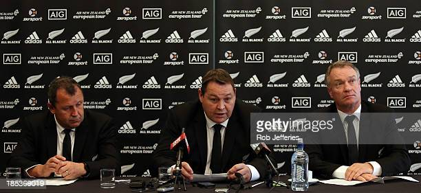 All Blacks selectors Ian Foster Steve Hansen and Grant Fox during the New Zealand All Blacks squad announcement at the Southern Cross Hotel on...