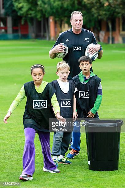 All Blacks skills coach Mick Byrne runs a training session during The Honourable Artillery Club Family Day at Honourable Artillery Company on...