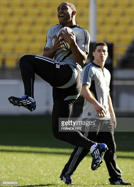 All Blacks winger Josevata Rokocoko grabs the ball during a training session at the Westpac Stadium in Wellington on June 19 2009 France on June 17...
