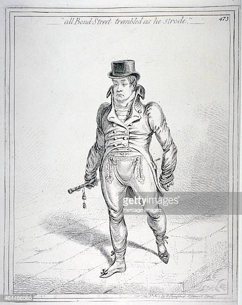 'All Bond Street trembled as he strode' 1802 Showing a young man walking with an unseeing stare diagonally towards the spectator