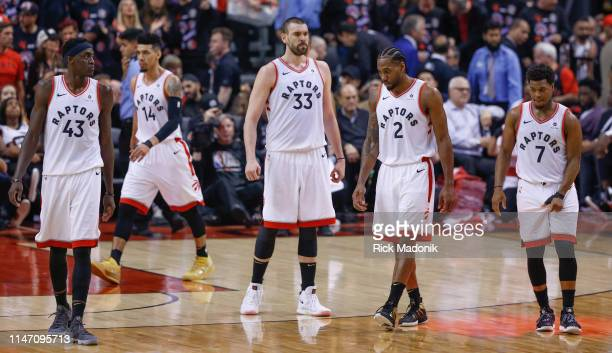 All business coming out of a time out From left Toronto Raptors forward Pascal Siakam Toronto Raptors guard Danny Green Toronto Raptors center Marc...