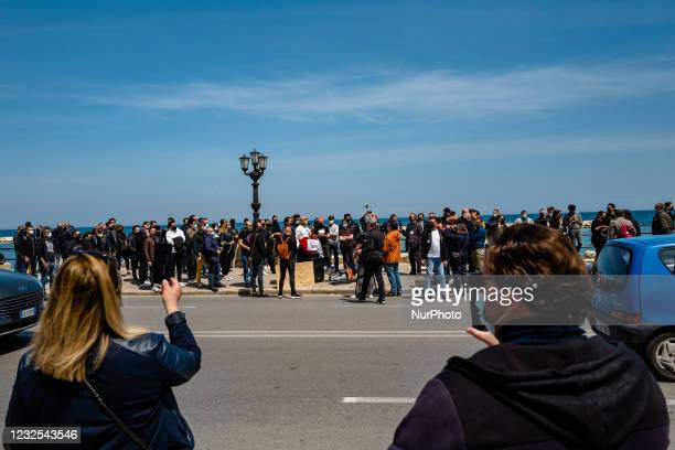 All categories of the wedding sector protest on the Lungomare in front of the Puglia Region on the first day in the orange area for lack of support...