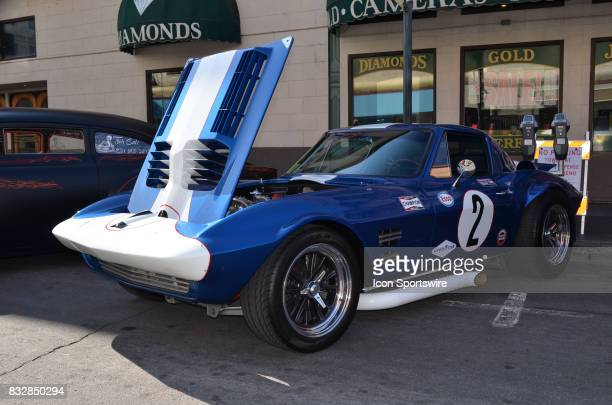 All decked out for the racetrack with a special paint scheme is a 1963 Chevy Corvette GS at the Hot August Nights Custom Car Show the largest...