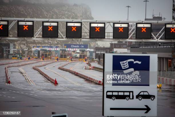 All departure lanes closed due to French border closures because of a new strain of COVID-19 at the entrance into the port of Dover in the Eastern...