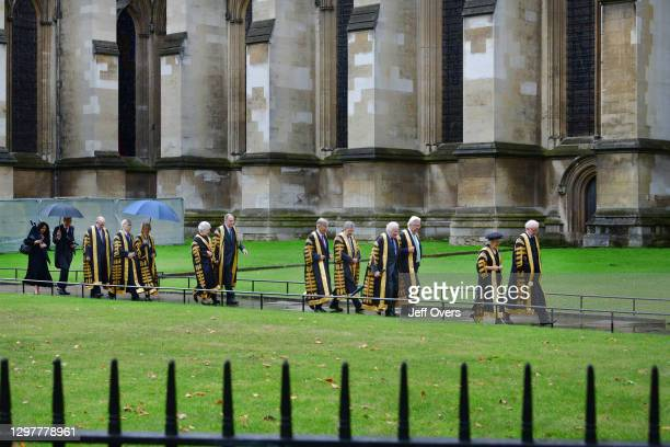 All eleven Supreme Court Judges led by Lady Hale , walk through the grounds of Westminster Abbey, to take part in the annual Abbey judges service ,...