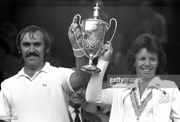 All England Lawn Tennis Championships, Wimbledon, Mixed Doubles, 8th July 1973, USA's Billie Jean King and Owen Davidson of Australia hold the Mixed...