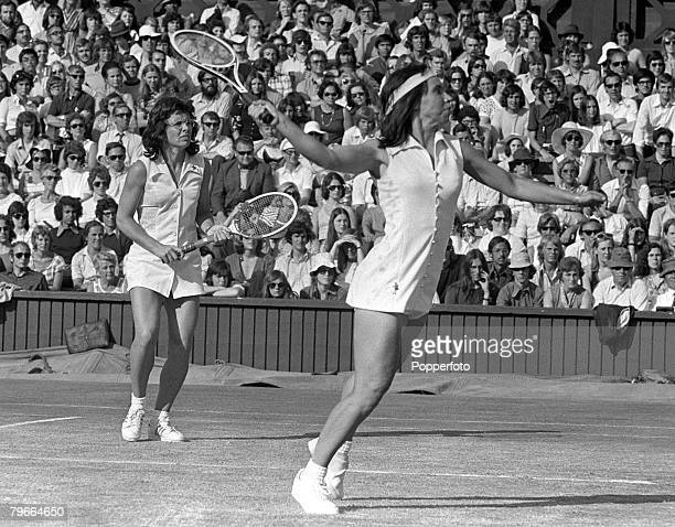 All England Lawn Tennis Championships Wimbledon Women's Doubles 7th July 1973 Americans Billie Jean King and Rosie Casals on their way to victory in...