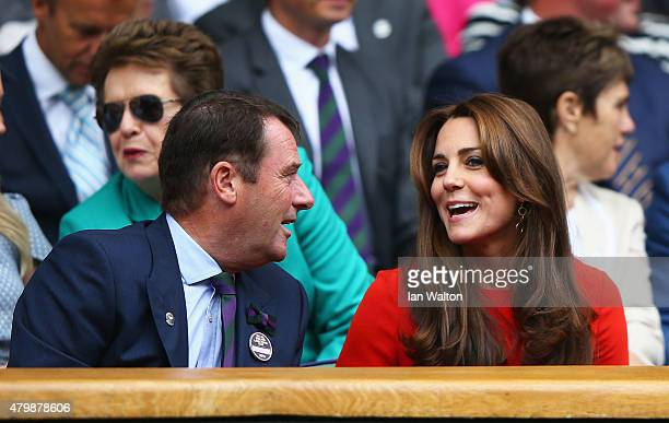 All England Lawn Tennis Club Chairman Philip Brook and Catherine Duchess of Cambridge attends day nine of the Wimbledon Lawn Tennis Championships at...