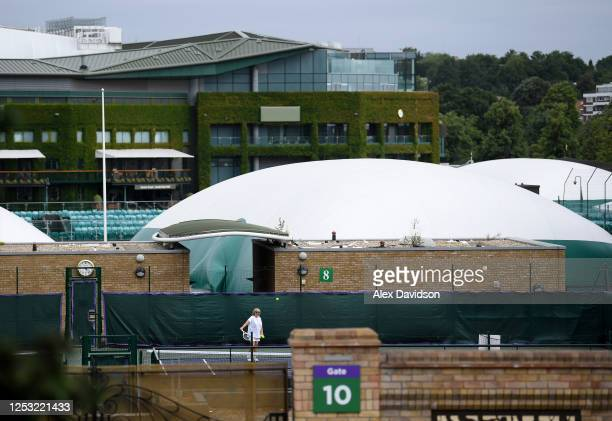 All England Tennis and Croquet Club members play on an astro court on June 29 2020 in Wimbledon England The Wimbledon Tennis Championships were due...