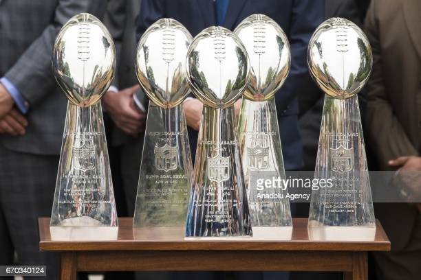 All five of Super Bowl Trophies won by the 2017 Super Bowl Champions the New England Patriots during their visit to the White House in Washington...