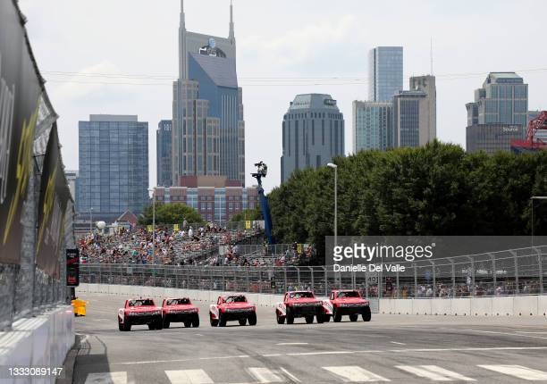 All five of the Crosley super truck drivers participate in the Music City Grand Prix race at Nissan Stadium on August 08, 2021 in Nashville,...