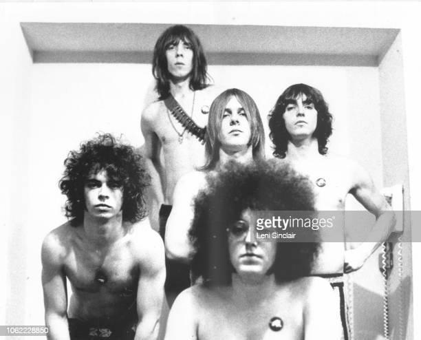 All five original members of the band MC5 pose in Ann Arbor MI in 1969
