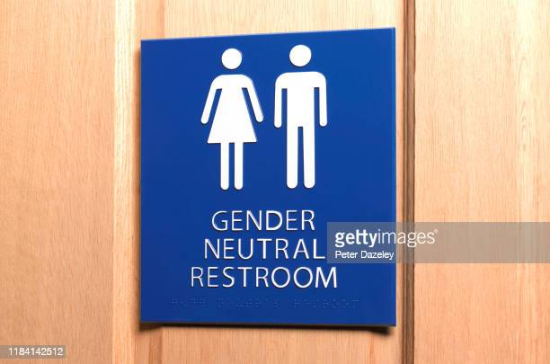 all gender bathroom sign - public toilet stock pictures, royalty-free photos & images