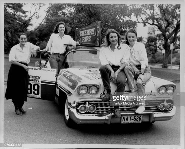 All girl team entering their 1958 Chevrolet in the Bourke to Barrier Reef Redex DashLeft to Right Cathy Everett Jenny Caspersonn Meaghan Sticpewich...