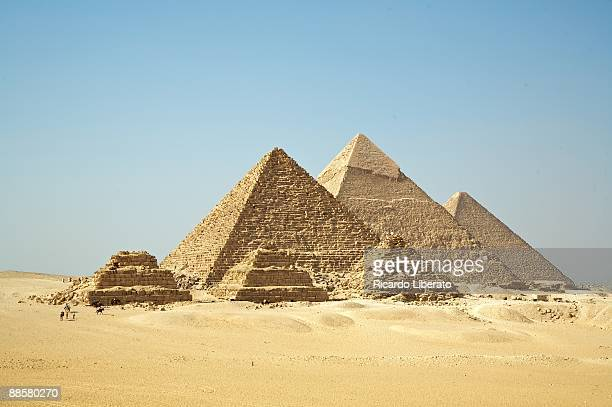 all gizah pyramids - giza pyramids stock pictures, royalty-free photos & images