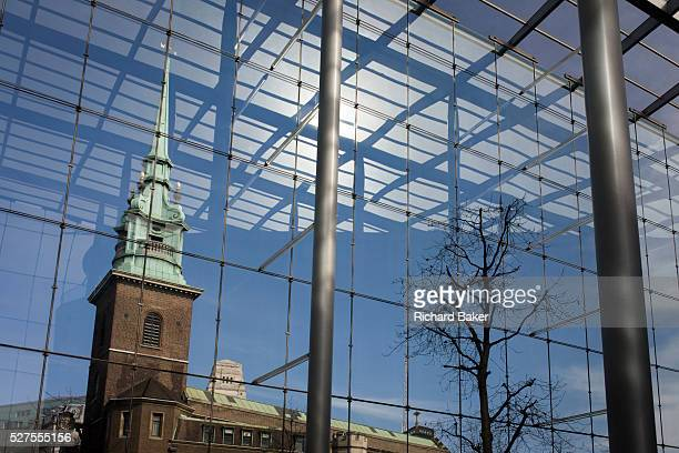 All HallowsbytheTower church and modern architecture of Tower Place glas atrium All HallowsbytheTower also previously dedicated to St Mary the...