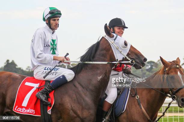 All Hard Wood ridden by Jamie Mott returns after winning the KHQ Lawyers Maiden Plate at Sale Racecourse on January 21 2018 in Sale Australia