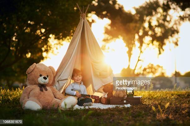 all he needs is a little imagination - teepee stock pictures, royalty-free photos & images