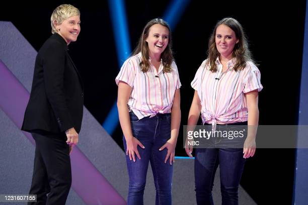 "All I Do Is Twin"" Episode 404 -- Pictured: Ellen DeGeneres, Kaitlyn Schmidt, Hannah Schmidt --"