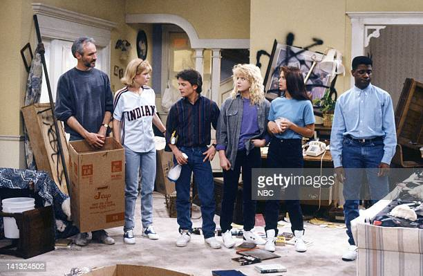 TIES 'All In The Neighborhood Part 2' Episode 18 Pictured Michael Gross as Steven Keaton Meredith Baxter as Elyse Keaton Michael J Fox as Alex P...