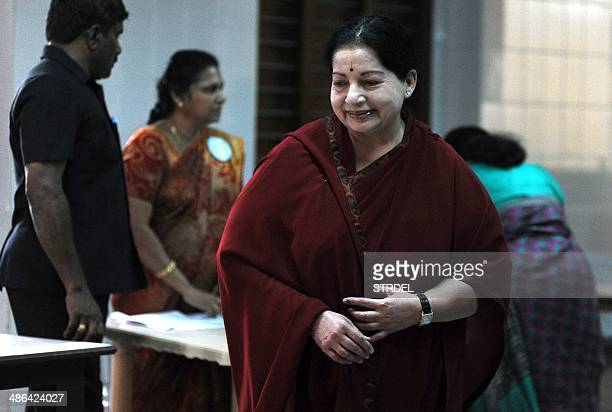 All India Anna Dravida Munnetra Kazhagam Leader and Chief Minister of the southern Indian state of Tamil Nadu J Jayalalithaa smiles after casting her...