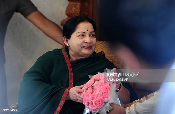 All India Anna Dravida Munnetra Kazhagam leader Jayalalithaa Jayaram gestures during a media brief in Chennai on May 19 2016 The makeup of India's...