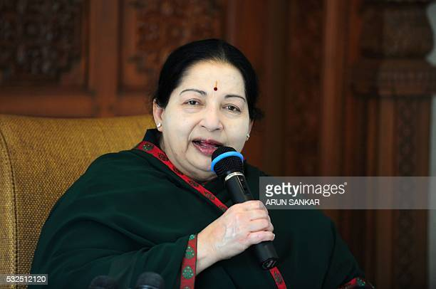 All India Anna Dravida Munnetra Kazhagam leader Jayalalithaa Jayaram speaks during a media briefing in Chennai on May 19 2016 The makeup of India's...