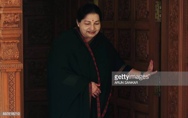 All India Anna Dravida Munnetra Kazhagam leader Jayalalithaa Jayaram come out of her residence to address media in Chennai on May 19 2016 The makeup...