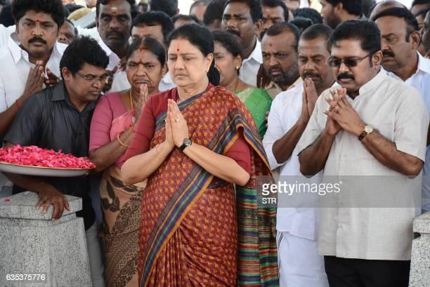 All India Anna Dravida Munnetra Kazhagam leader VK Sasikala pays her respects at the memorial for former state chief minister Jayalalithaa Jayaram...