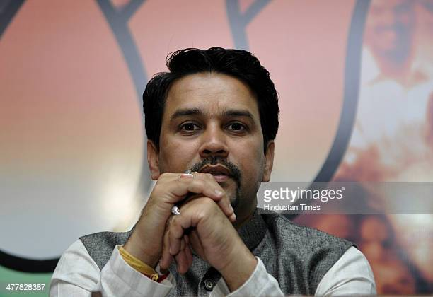 All India Bharatiya Janata Yuva Morcha National President Anurag Singh Thakur during an event in which youth leaders from different party leader...