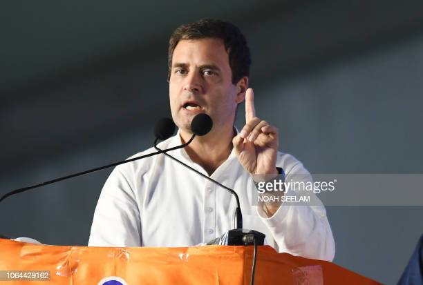 All India Congress Committee President Rahul Gandhi addresses a public meeting for the campaign for 2018 Telangana state Assembly elections at...