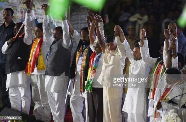 All India Congress Committee President Rahul Gandhi and Chief Minister of Andhra Pradesh and Telugu Desam Party president N Chandrababu Naidu and...
