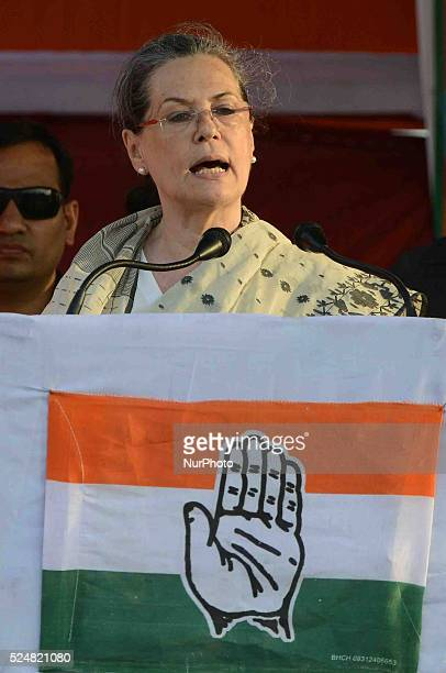 All India Congress President Sonia Gandhi at an election campaign rally for West Bengal Assembly elections in Sreerampore on April 26 2016 in Hooghly...