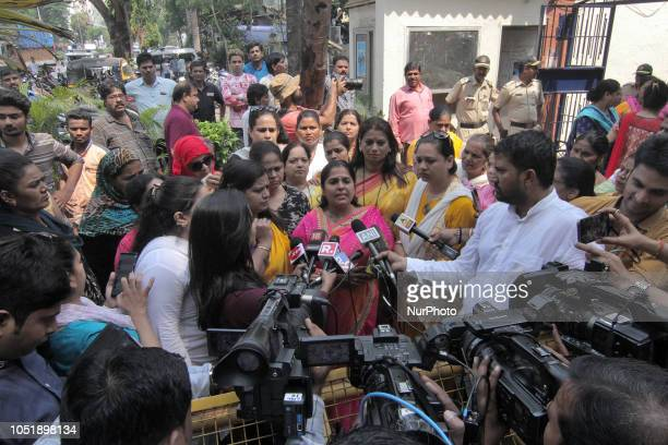 All India Mahila Congress shout slogans against Bollywood actor Nana Patekar outside a police station as they demand justice for Bollywood actress...